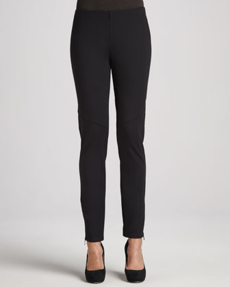 Ponte Skinny Ankle-Zip Pants