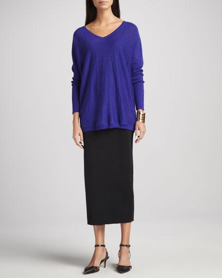 Washable Wool Crepe Long Skirt, Petite