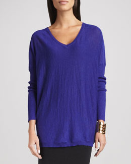 Eileen Fisher Royal Alpaca V-Neck Boxy Tunic, Purple