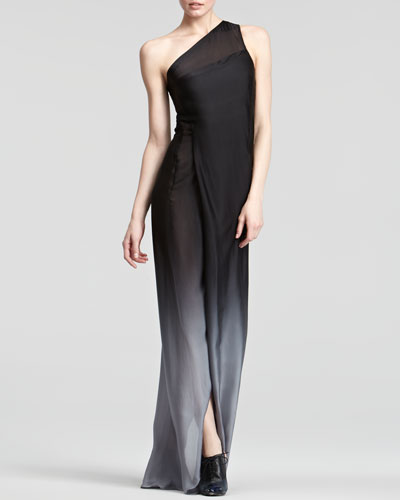Donna Karan Ombre One-Shoulder Gown