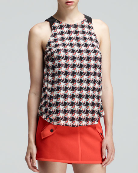 Clemence Printed Leather-Trim Top