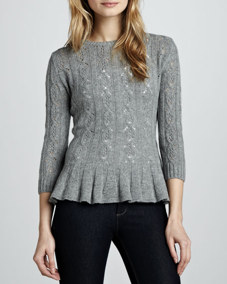 Pointelle Cashmere Peplum Sweater, Cement