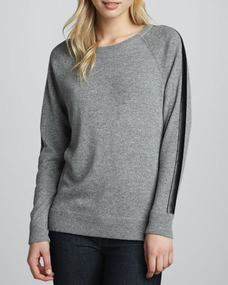 Leather-Trim Cashmere Sweatshirt