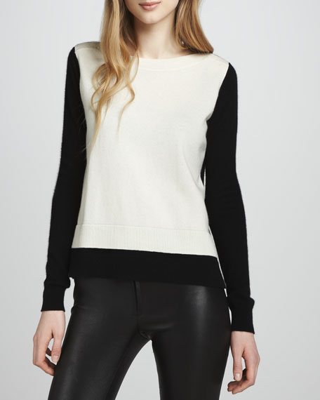 Two-Tone Layered Cashmere Sweater