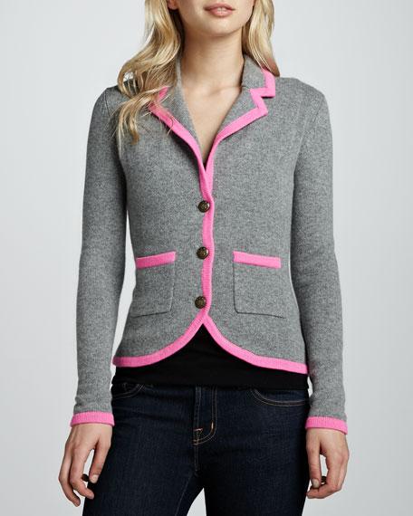 Contrast-Tipped Cashmere Blazer