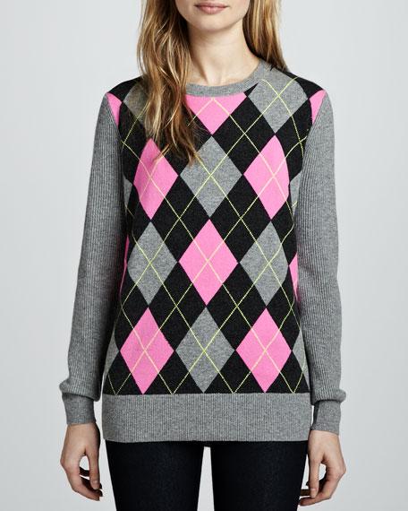 Argyle Elbow-Patch Boyfriend Cashmere Sweater