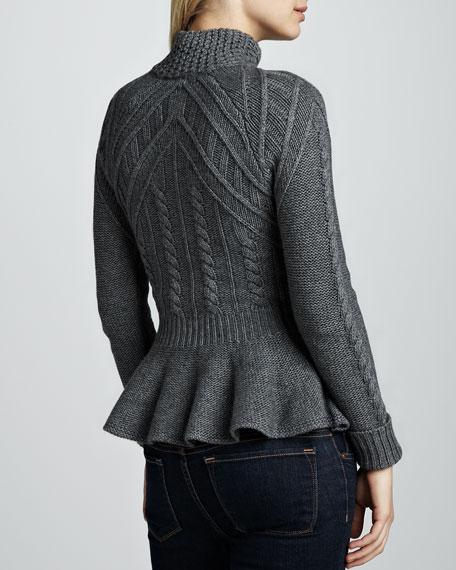 Cashmere Zip-Front Peplum Jacket