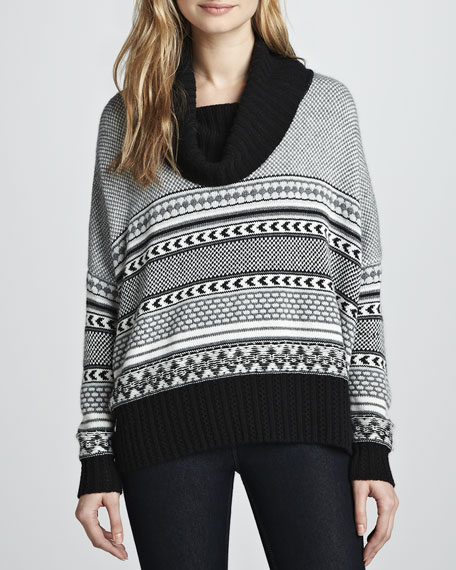 Jacquard Cowl-Neck Cashmere-Blend Sweater