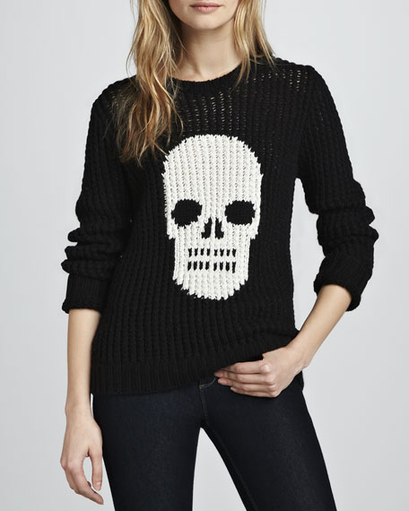 Hand-Knit Skull Crewneck Sweater