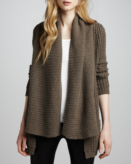 Textured Draped Cardigan