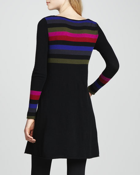 Striped Flared Cashmere Dress