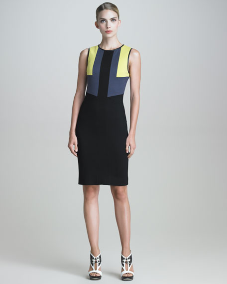 Techno Jersey Colorblock Dress