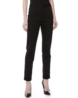 Donna Karan Slim Cuffed Straight-Leg Pants