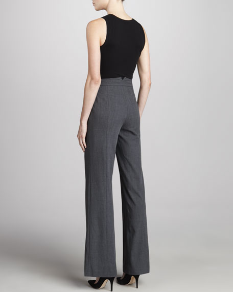 Fluid Wide-Leg Pants, Charcoal