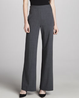 Donna Karan Fluid Wide-Leg Pants, Charcoal