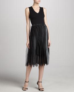 Donna Karan Silk Ombre Flutter Skirt