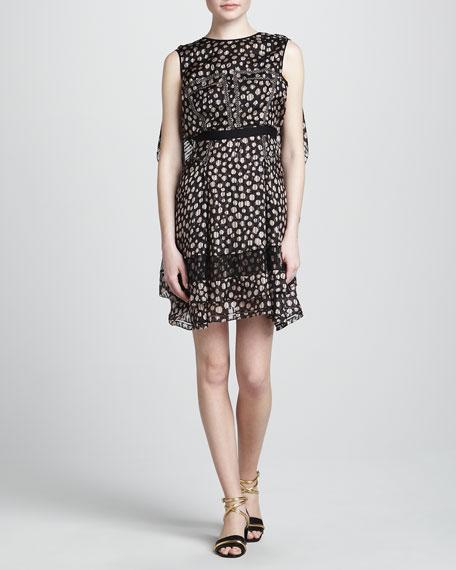 Print Dress with Flyaway Back