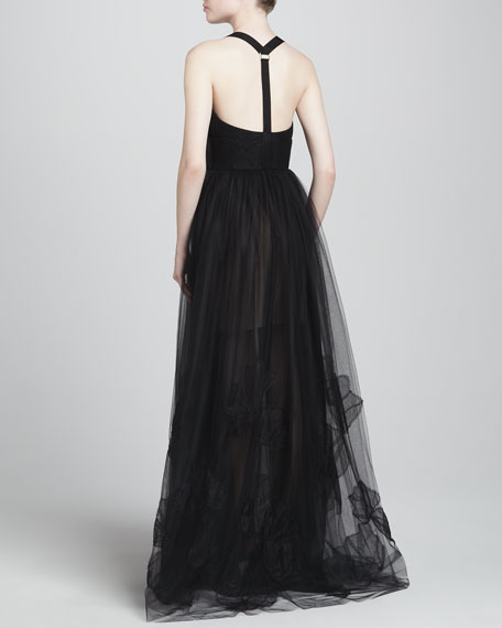 Tulle Gown with Halter Harness