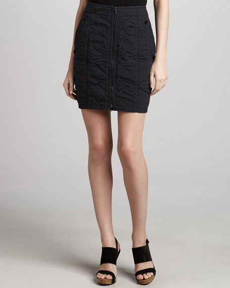 Vintage Washed Front-Zip Skirt, Deep