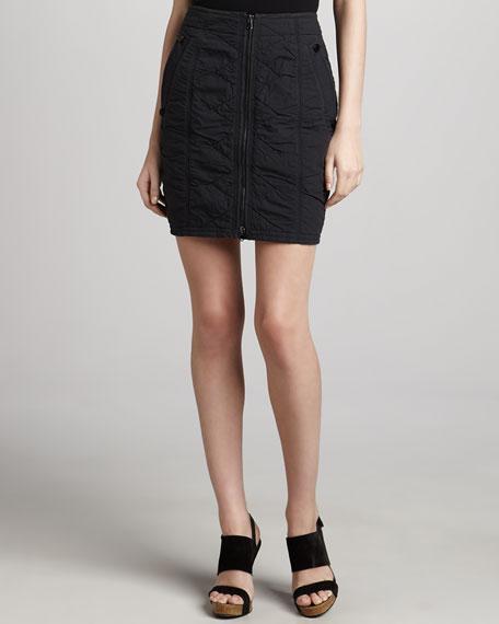 Vintage Washed Front-Zip Skirt, Deep