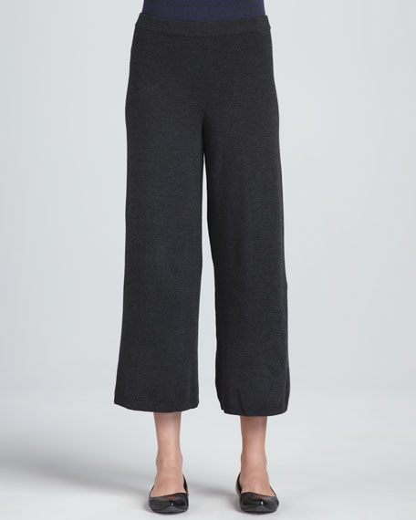 Cropped Wide-Leg Knit Pants