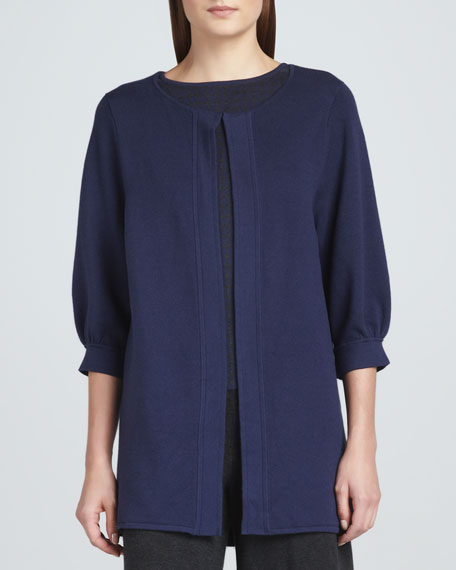 Open-Front 3/4-Sleeve Knit Coat, Women's