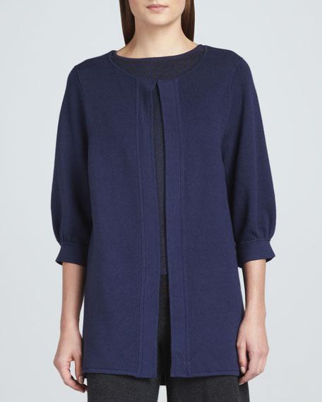Open-Front 3/4-Sleeve Knit Coat, Women's