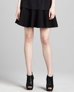 Halston Heritage Double-Face Suiting Circle Skirt, Black