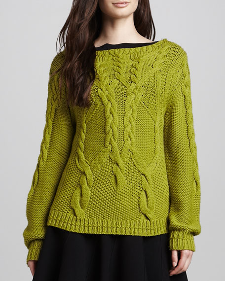 Chunky Cable-Knit Sweater, Apple Green