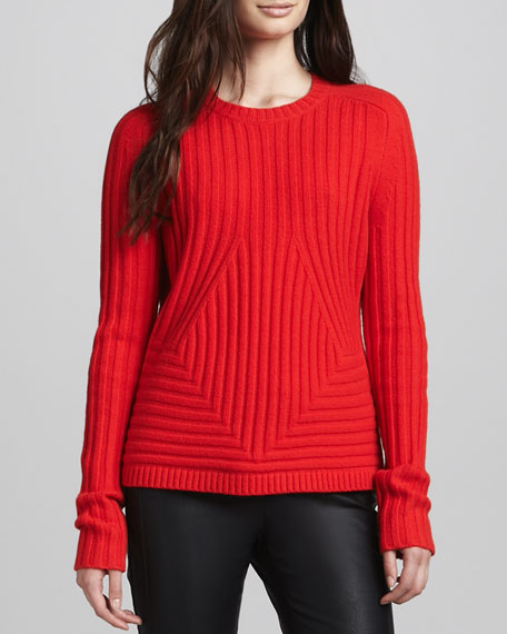 Cashmere-Blend Sweater, Vermillion