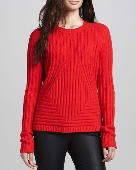 Cashmere-Blend Sweater, Vermillion