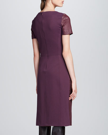 Leather-Front Ponte-Back Dress