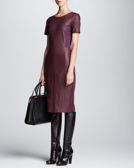 Leather-Front Ponte-Back Dress