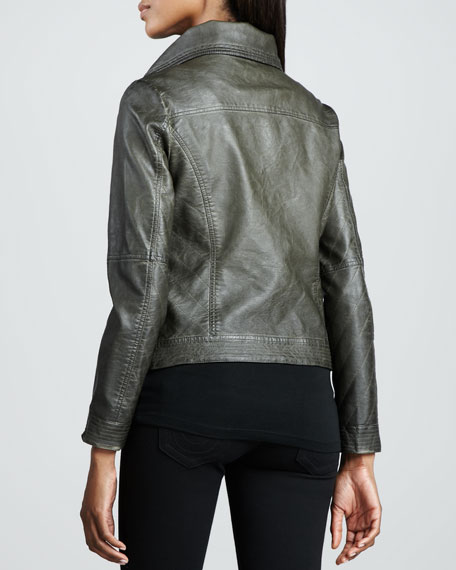 Hand-Rubbed Wide-Collar Leather Jacket