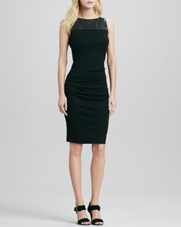Halston Heritage Leather Cutout Sheath Dress
