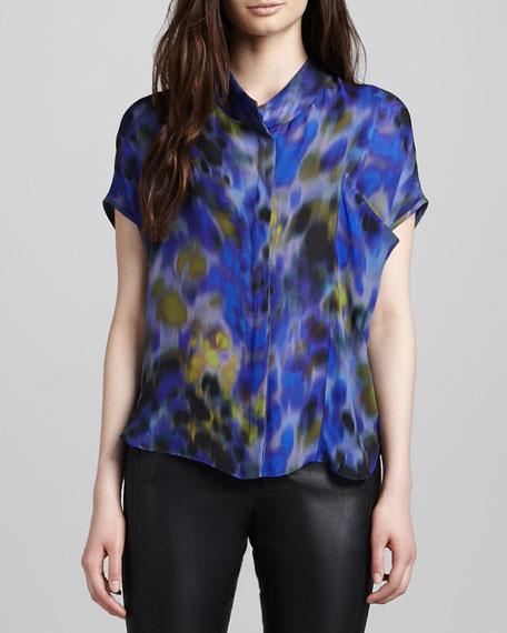 Shadow-Print Silk Top, Sapphire