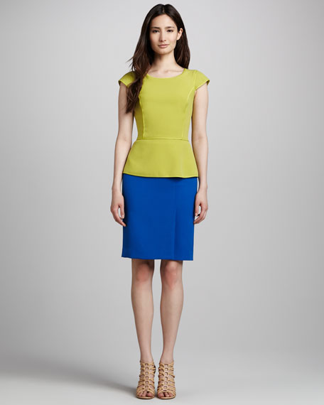 Double-Face Suiting Pencil Skirt, Sapphire