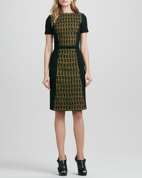 Ponte Lace-Front Dress