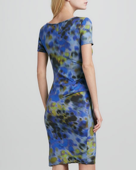 Printed Side-Pleated Dress