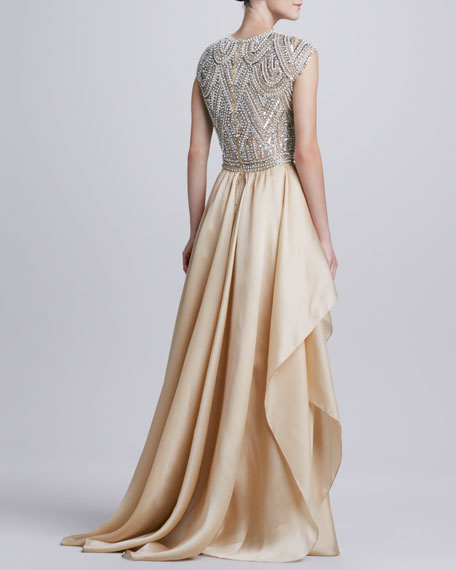 Beaded-Bodice Ruffle-Skirt Ball Gown