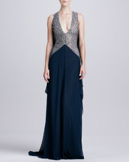 Naeem Khan Deep-V-Neck Beaded-Bodice Gown