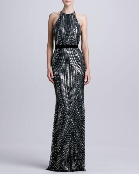 Sheer-Back Beaded Halter Gown