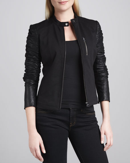 Ponte-Bodice Jacket with Leather Sleeves