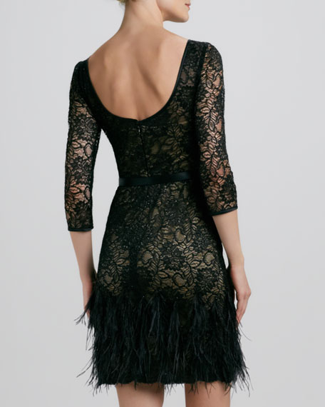 Lace Feather-Hem Cocktail Dress