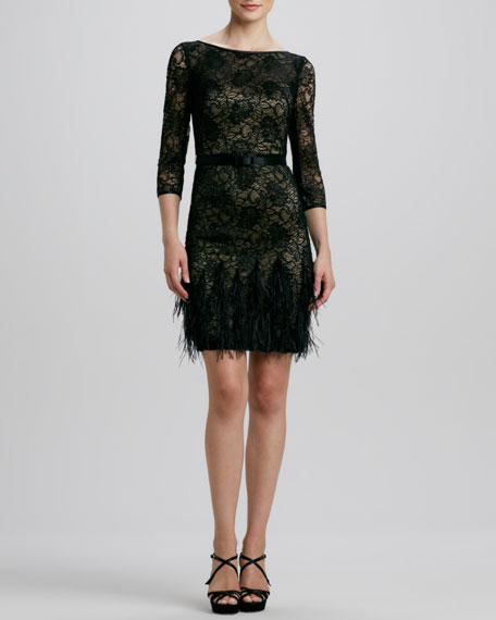Lace Feather-Hem Cocktail Dress