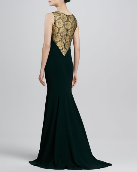 Lace-Inset Crepe Gown