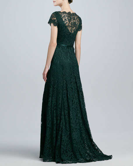 Cap-Sleeve Lace Gown