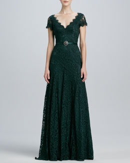 Theia Cap-Sleeve Lace Gown