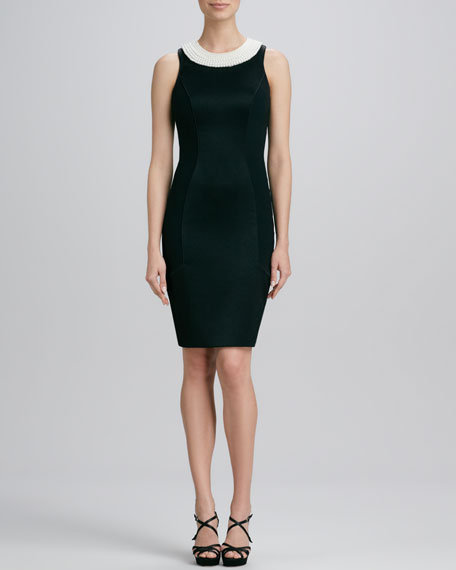 Faux-Pearl-Neck Cocktail Dress