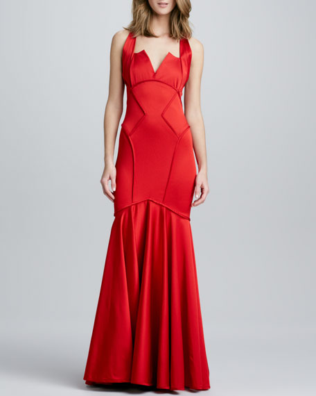 Sleeveless Asymmetric-Seamed Gown